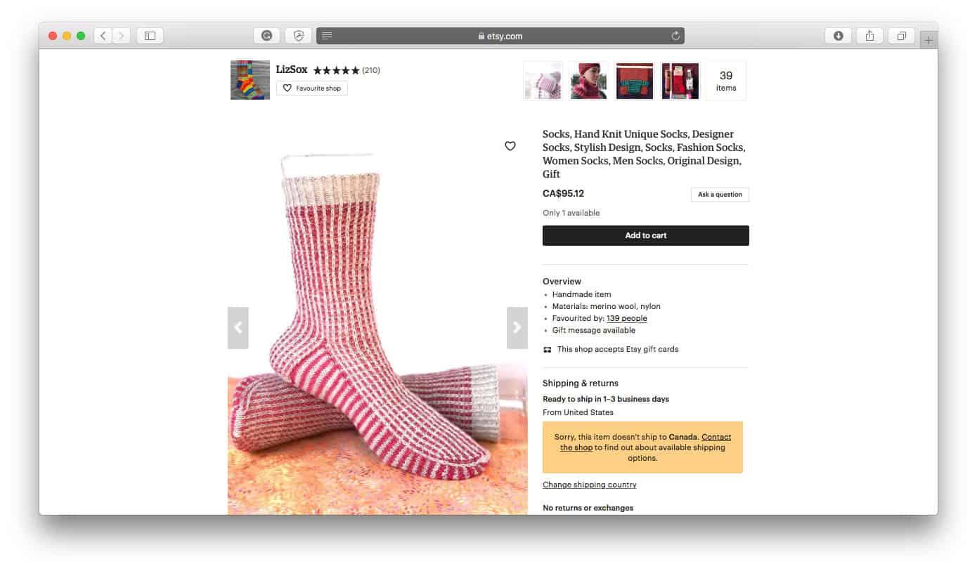 Etsy Ecommerce Sock Store