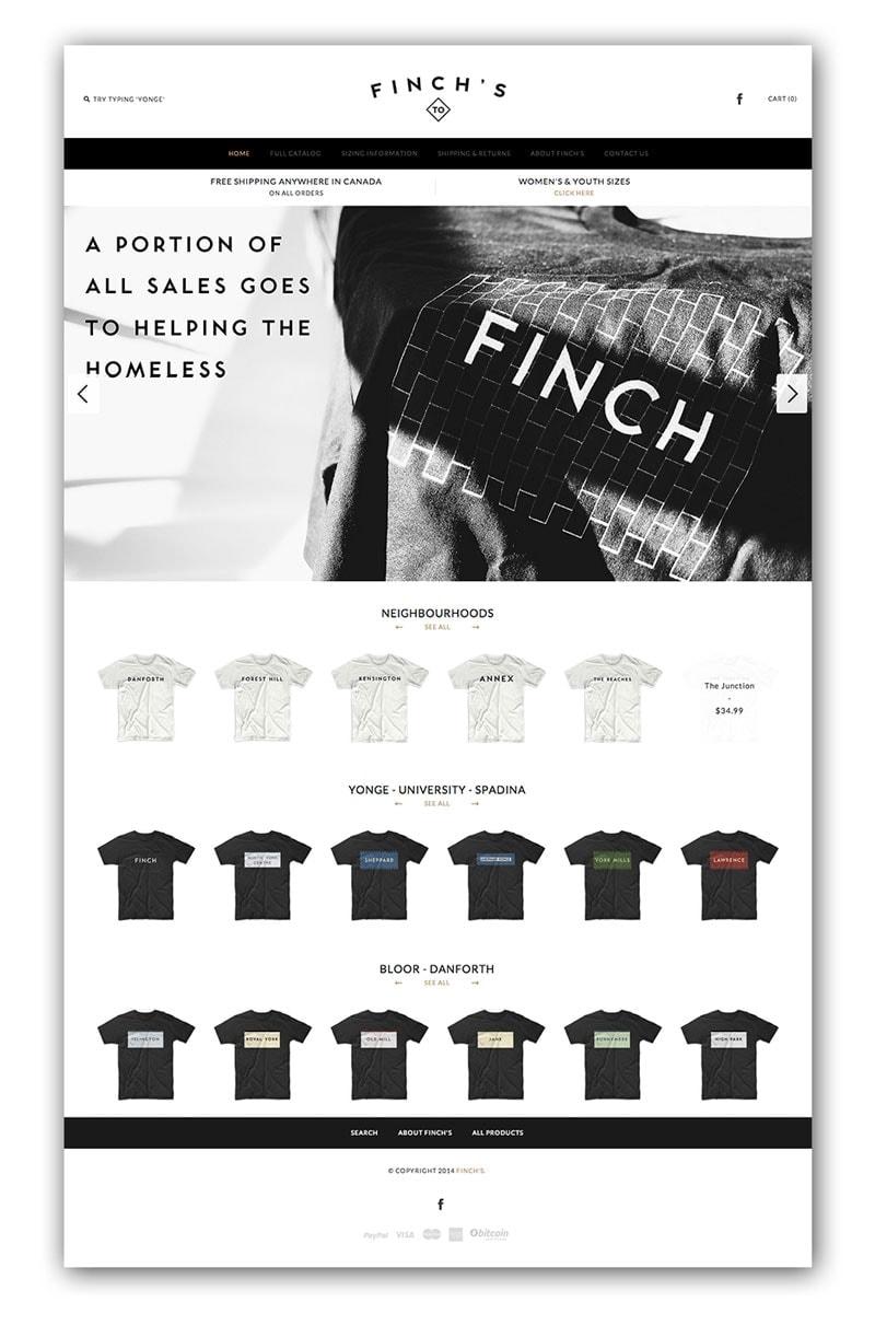 Finchs T-Shirt Website