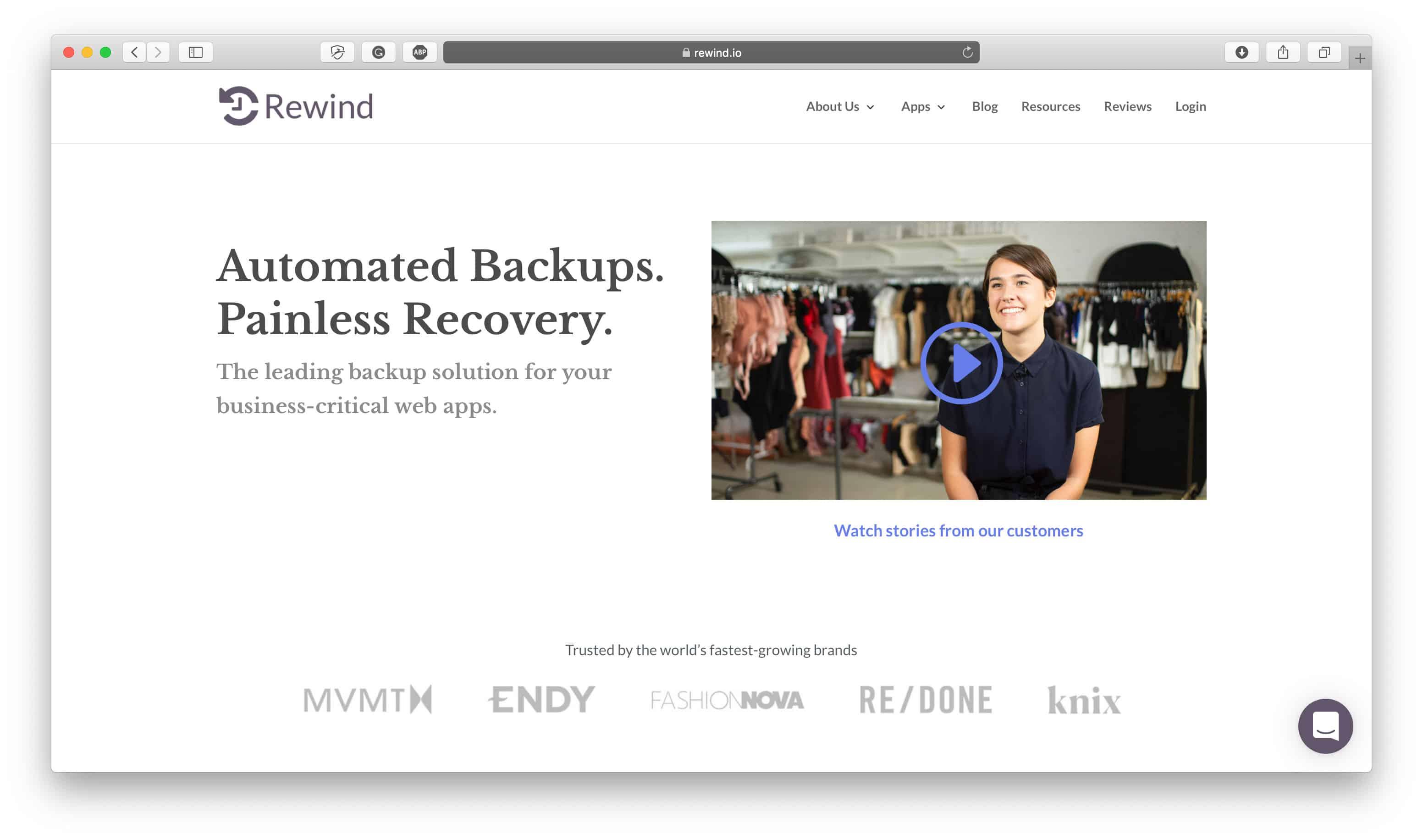 Online Store Backups Rewind
