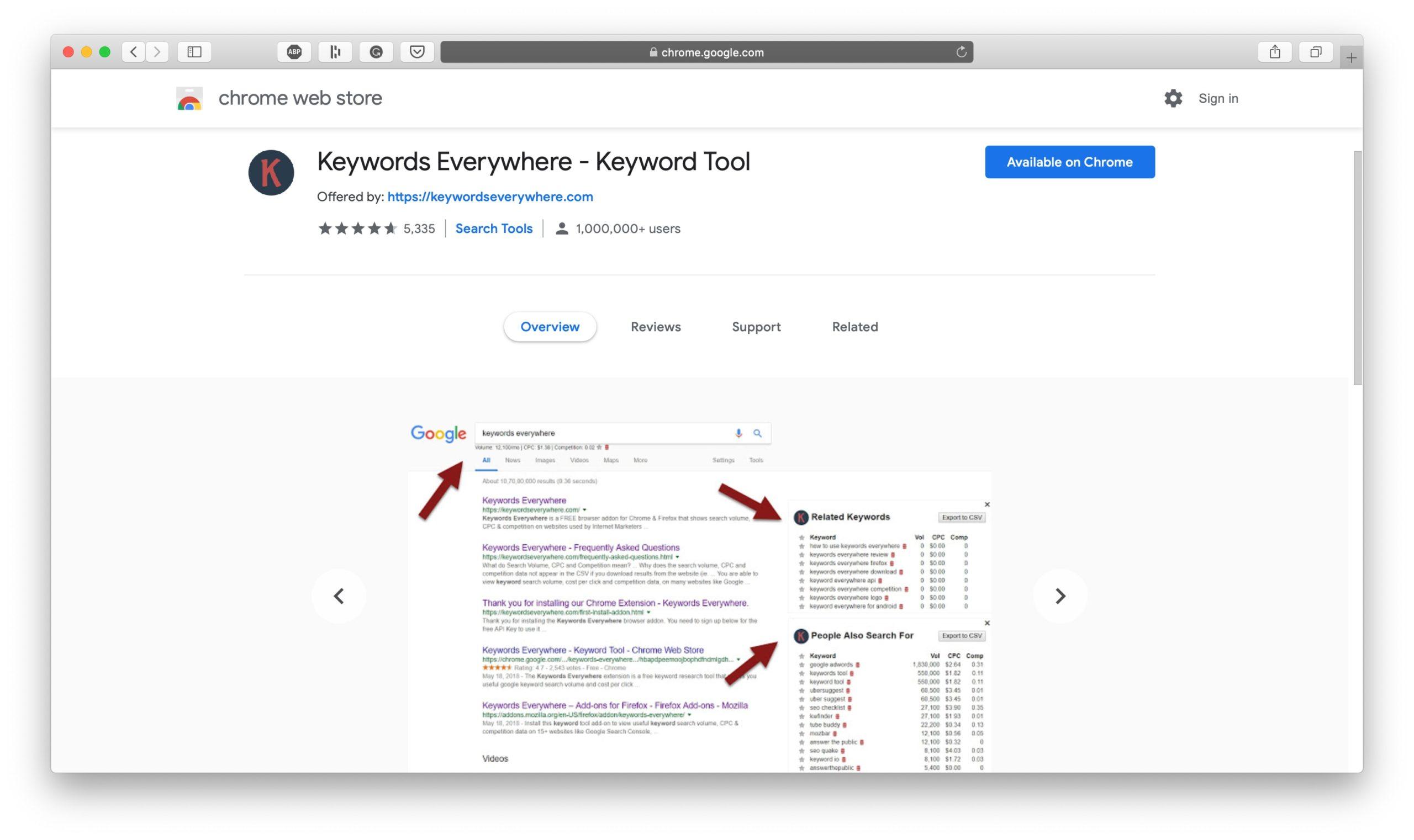 Keywords Everywhere Homepage