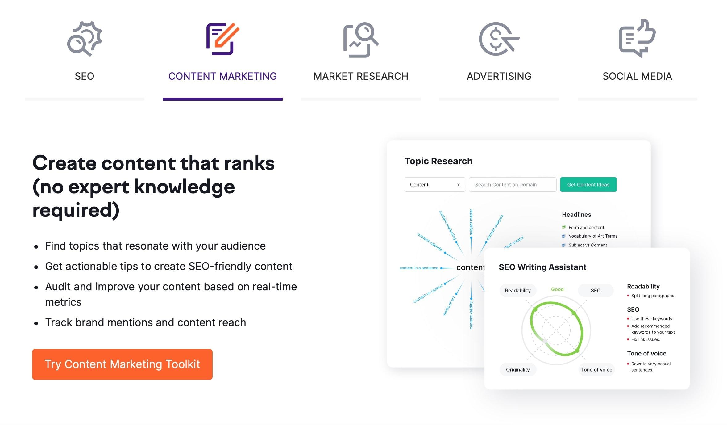 SEMrush Content Marketing SEO Tools