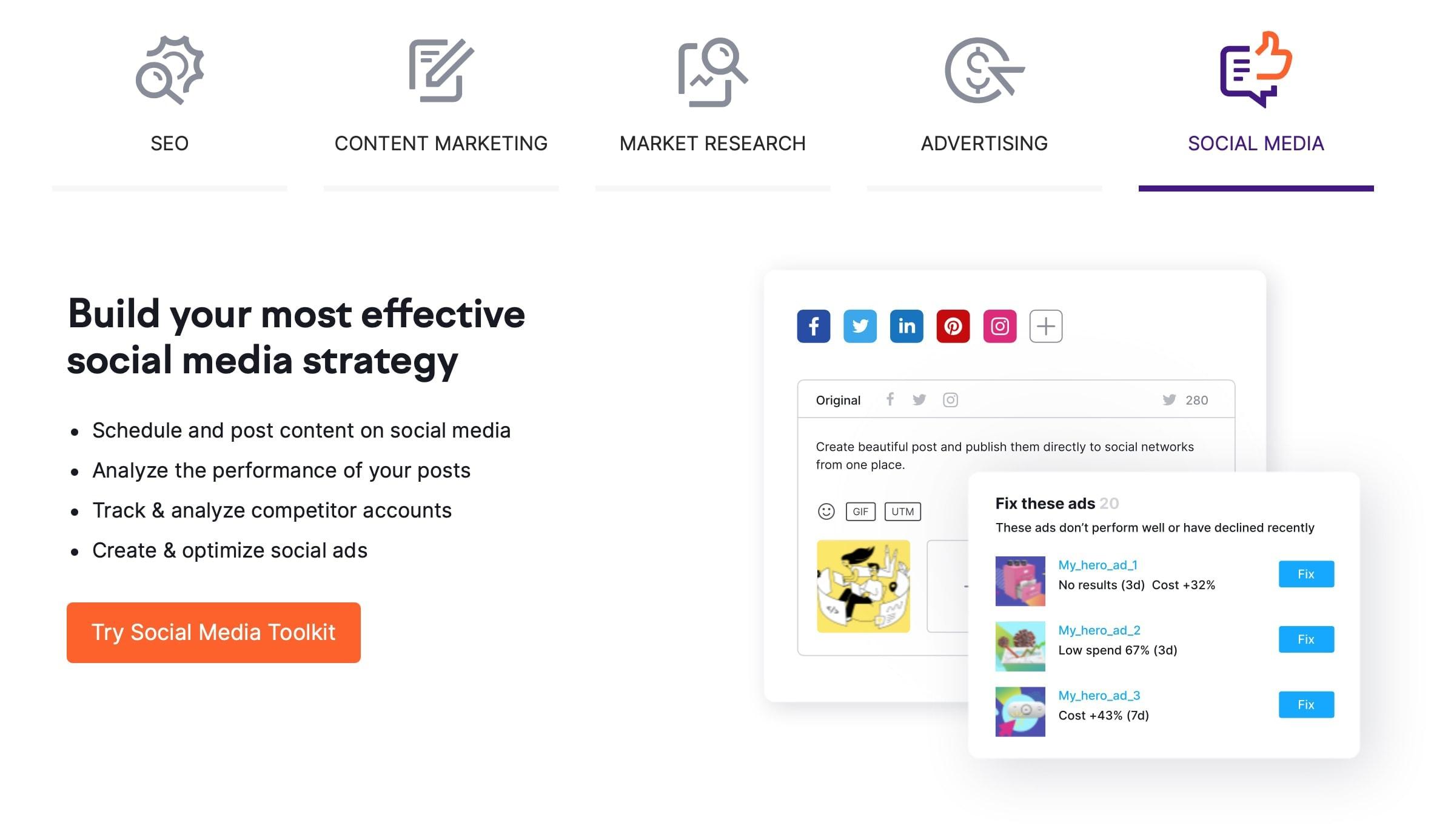 SEMrush Social Media Marketing Tools
