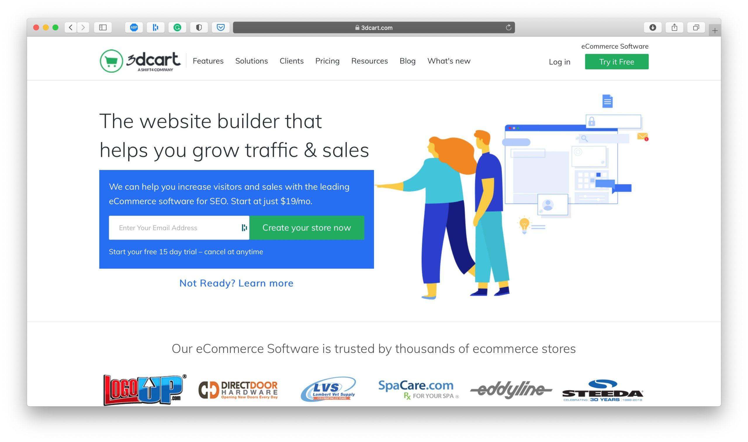 3Dcart Ecommerce Platform Homepage