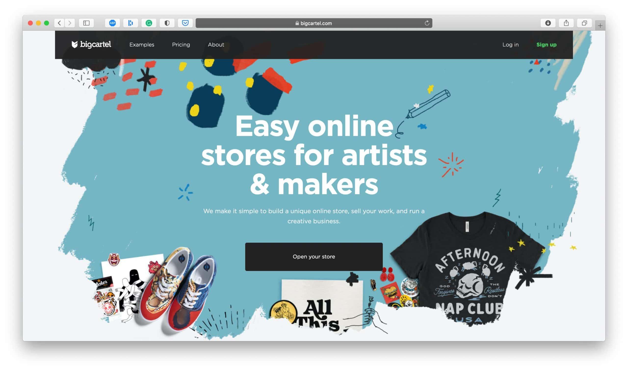 BigCartel Ecommerce Platform Homepage