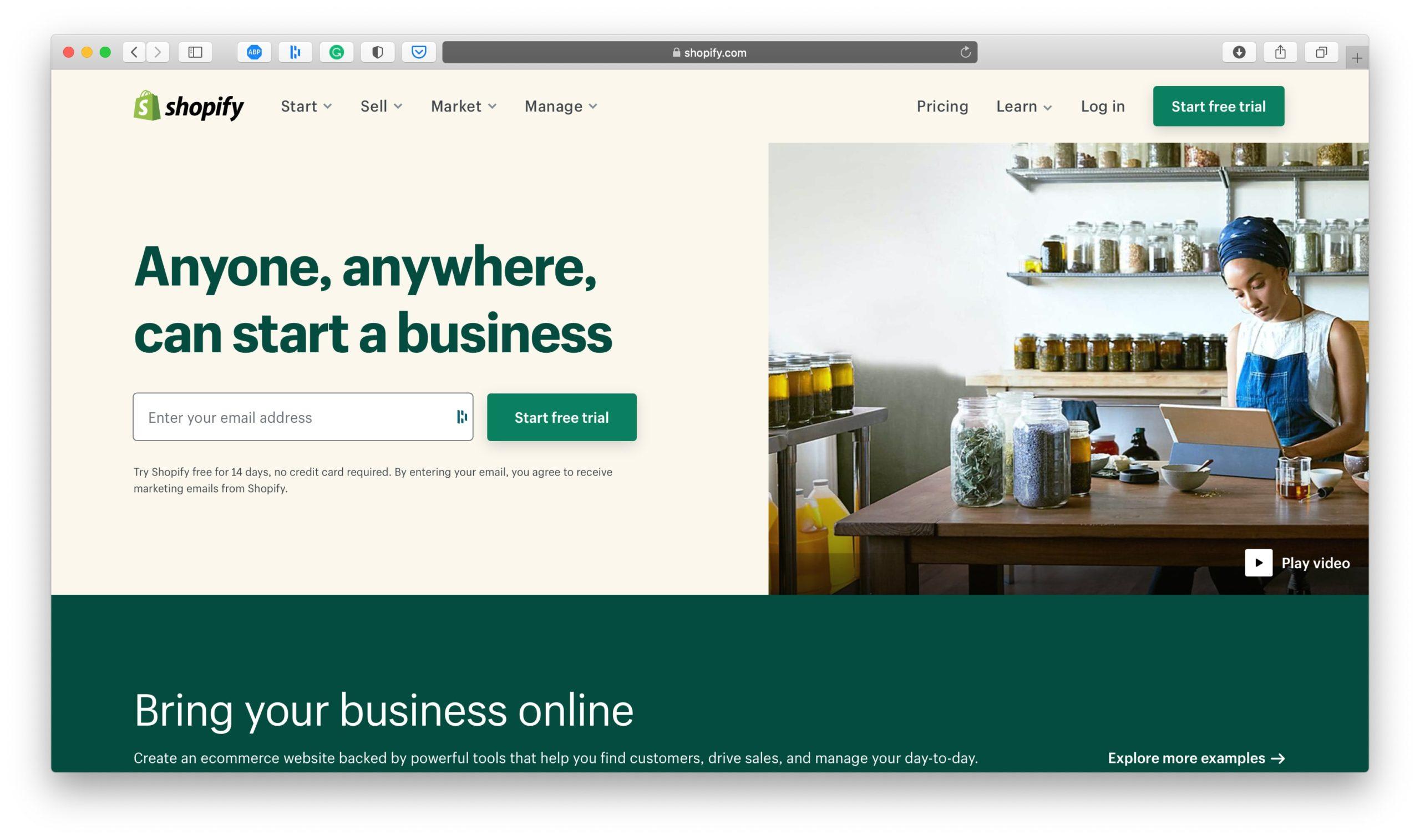 Shopify Ecommerce Platform Homepage