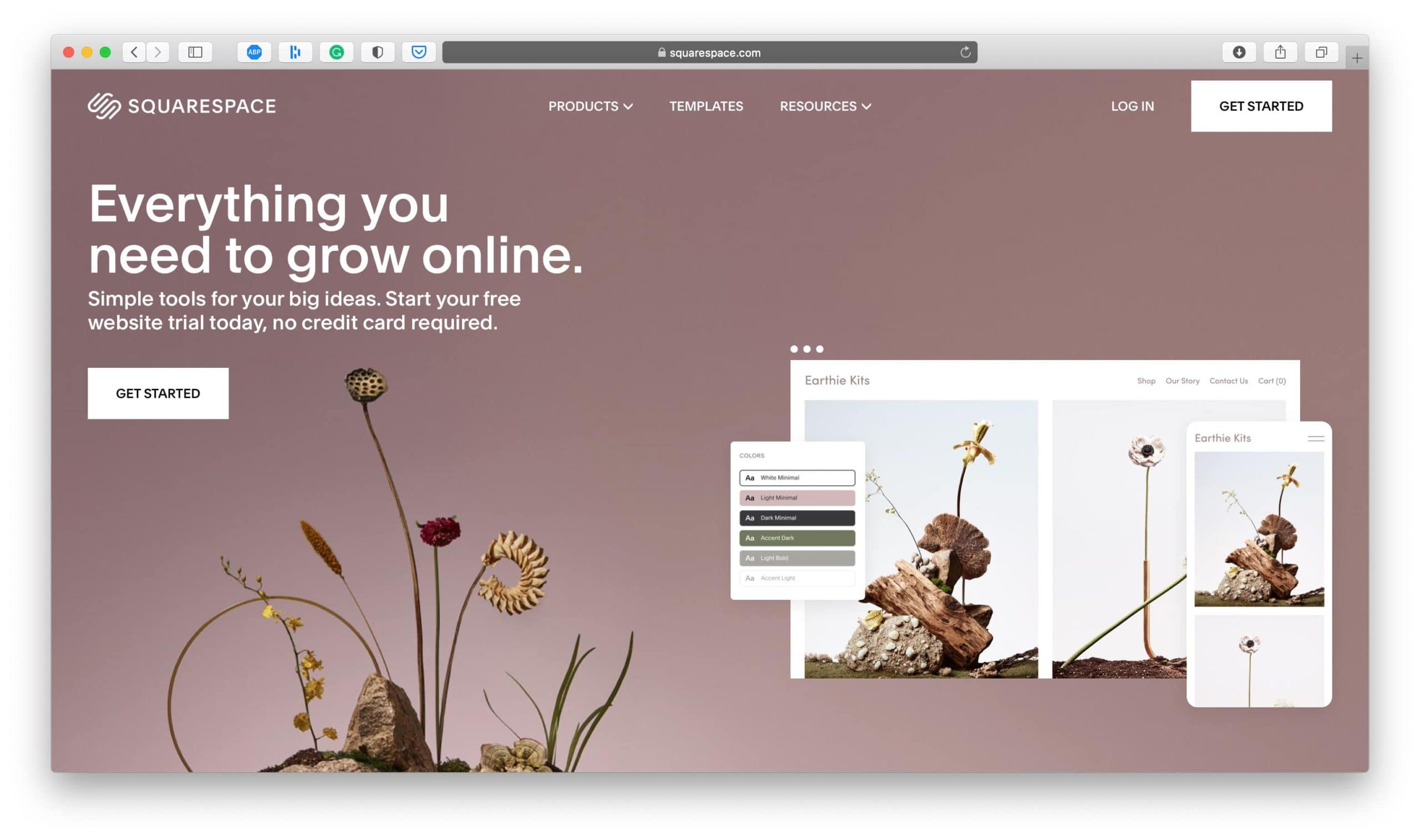 Squarespace Ecommerce Platform Homepage