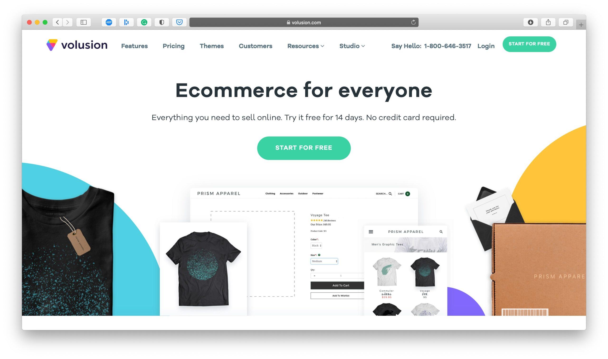 Volusion Ecommerce Platform Homepage