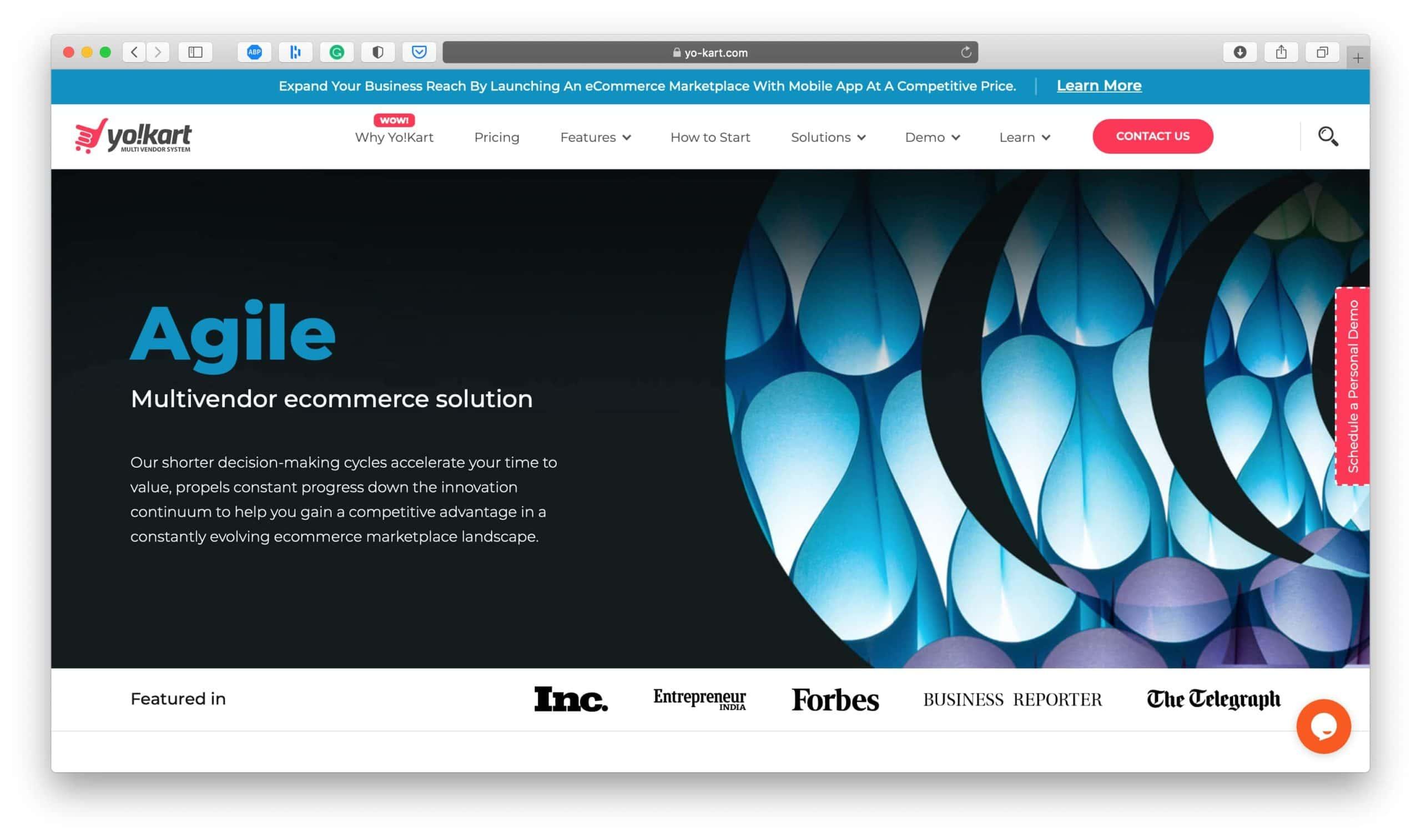 Yo!Kart Ecommerce Platform Homepage