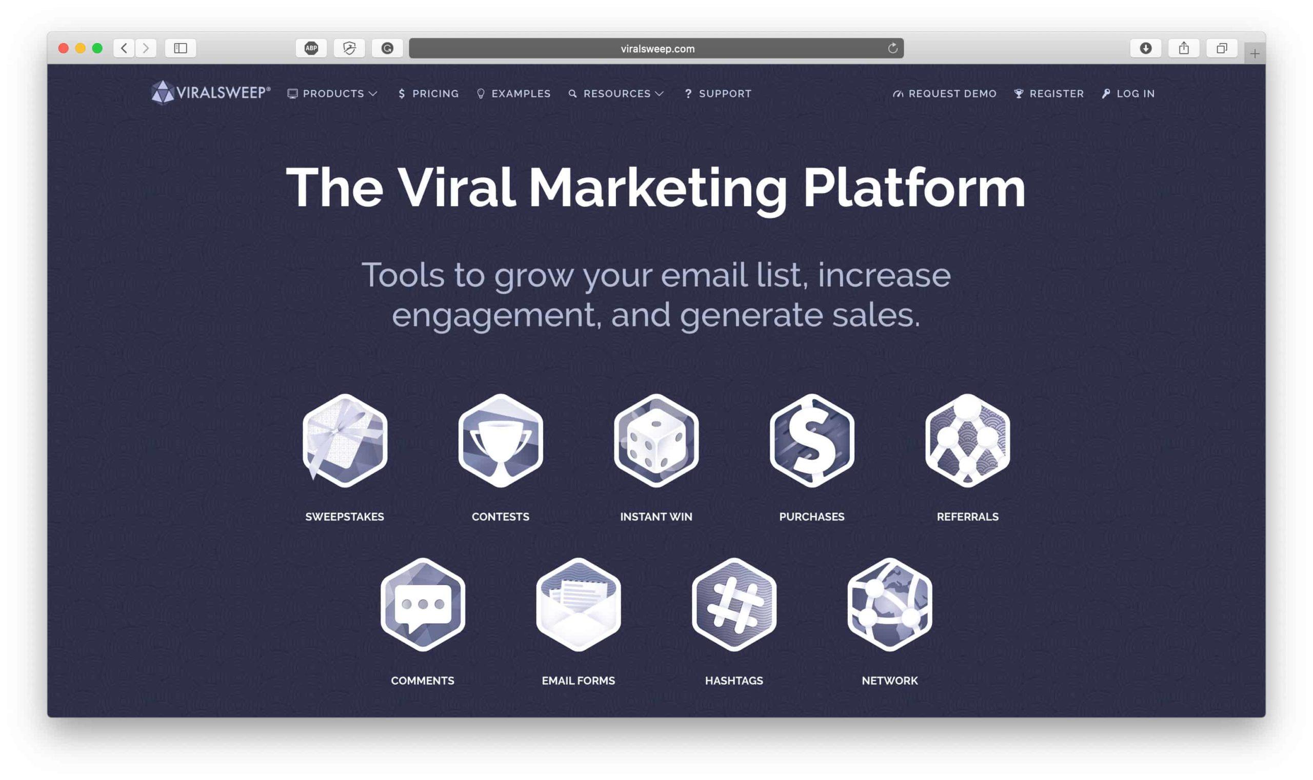 ViralSweep Homepage