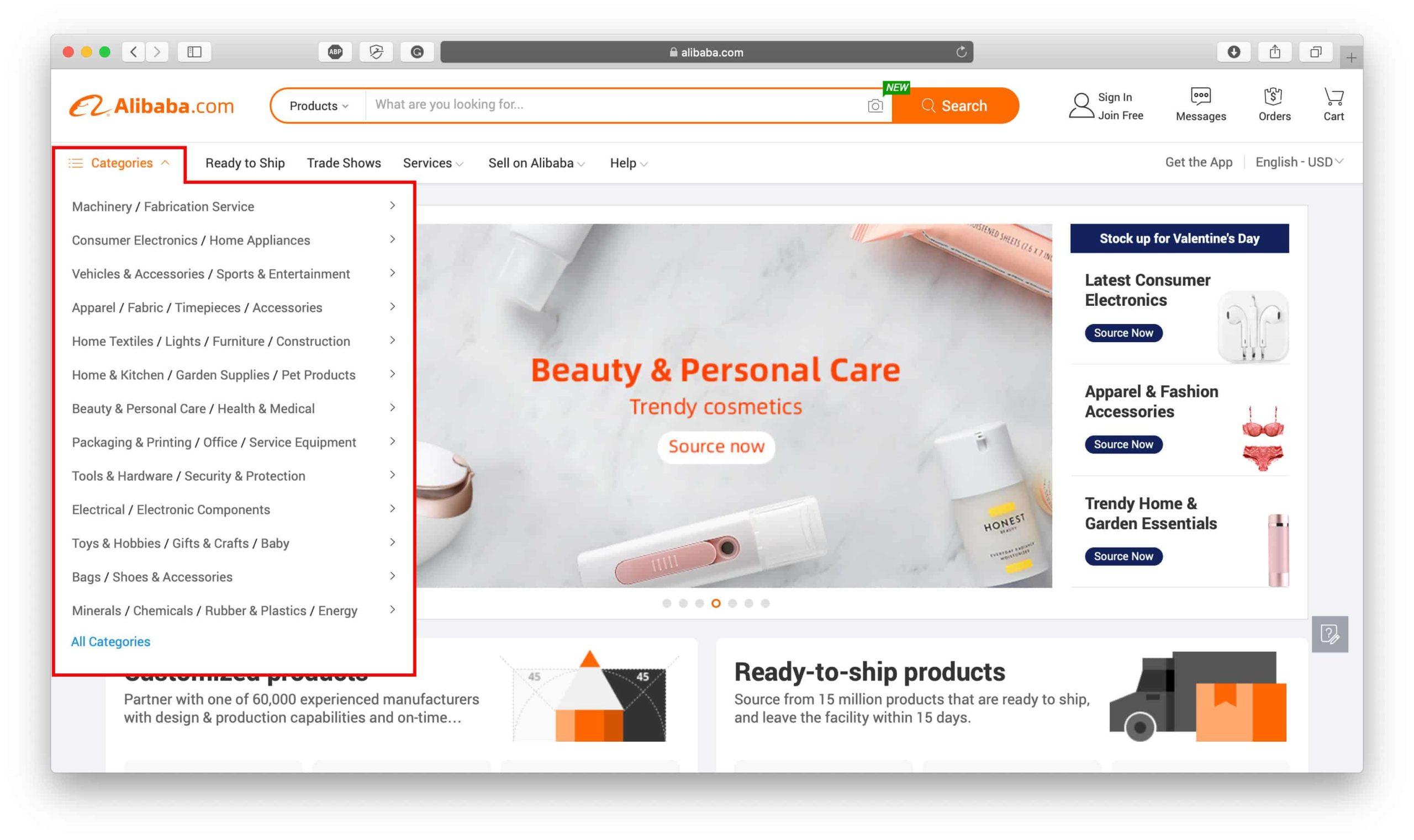 Alibaba Categories