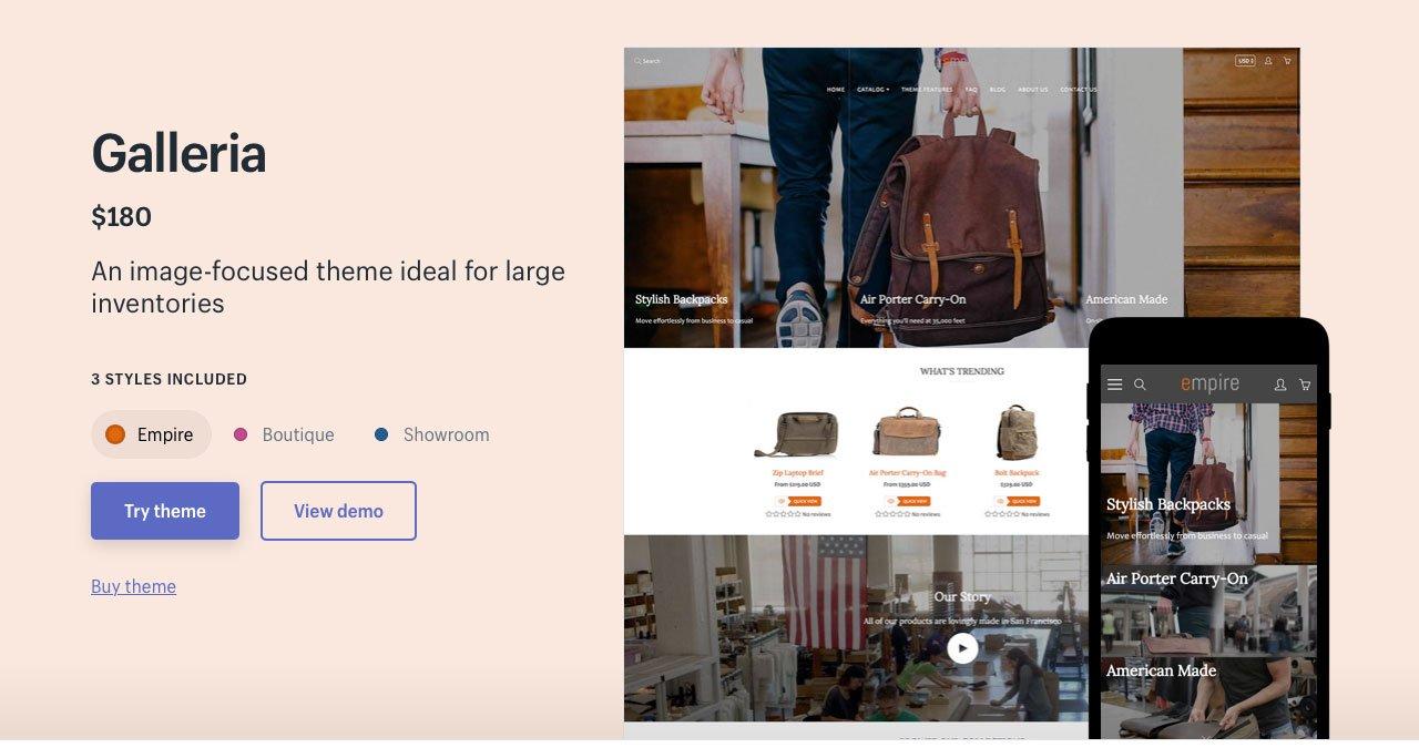 Shopify Theme Galleria