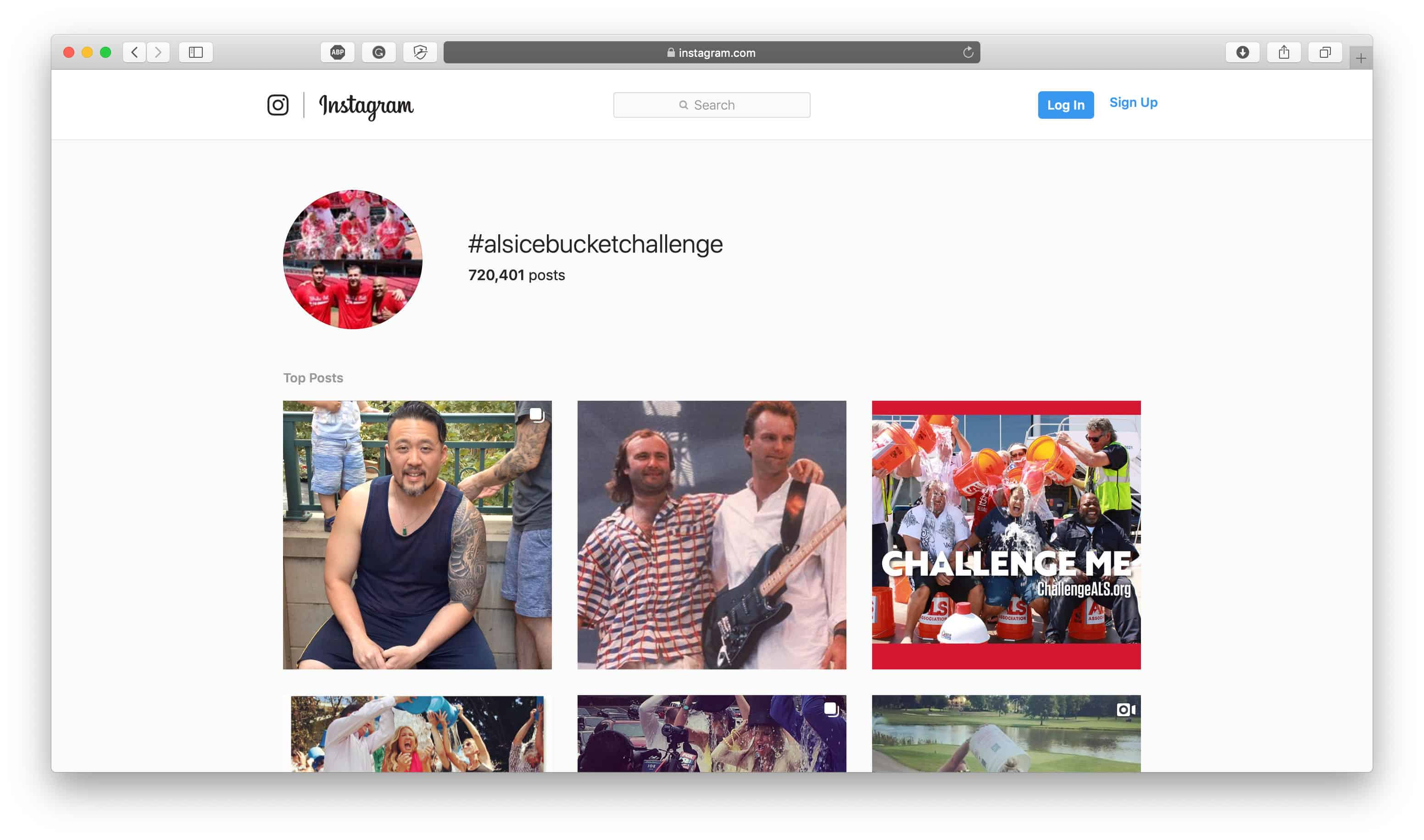 Campagna ALS Ice Bucket Challenge Instagram