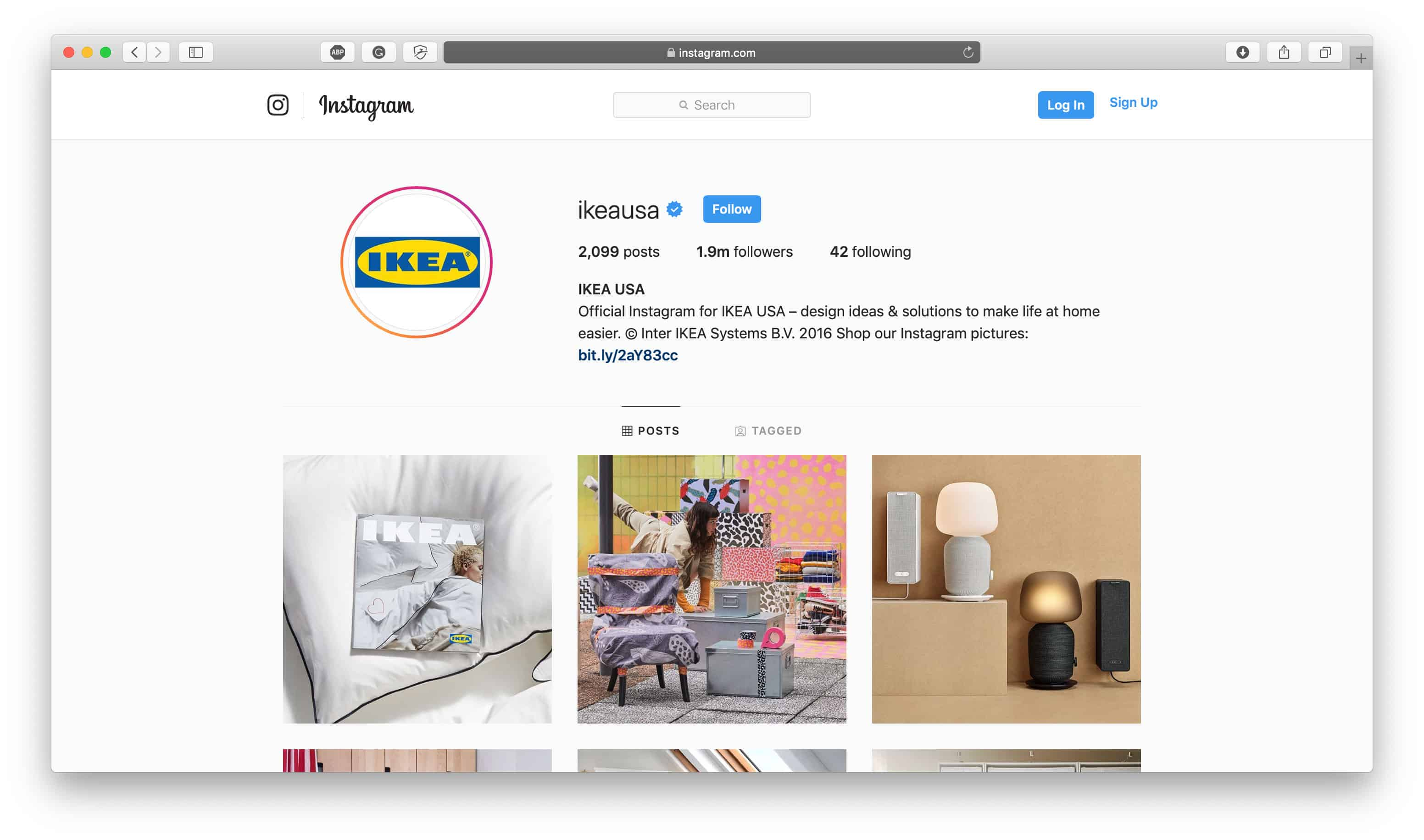 Esempio di Ikea Instagram Bio
