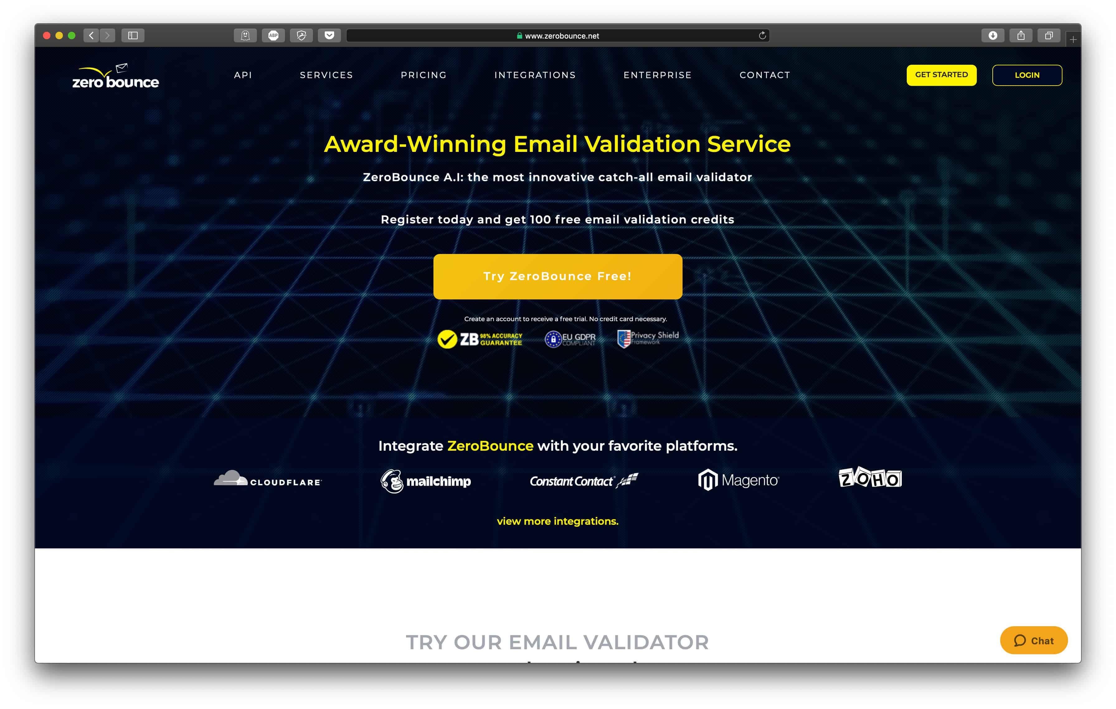 ZeroBounce Homepage