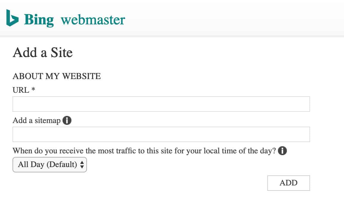 Bing Webmaster Site Setup