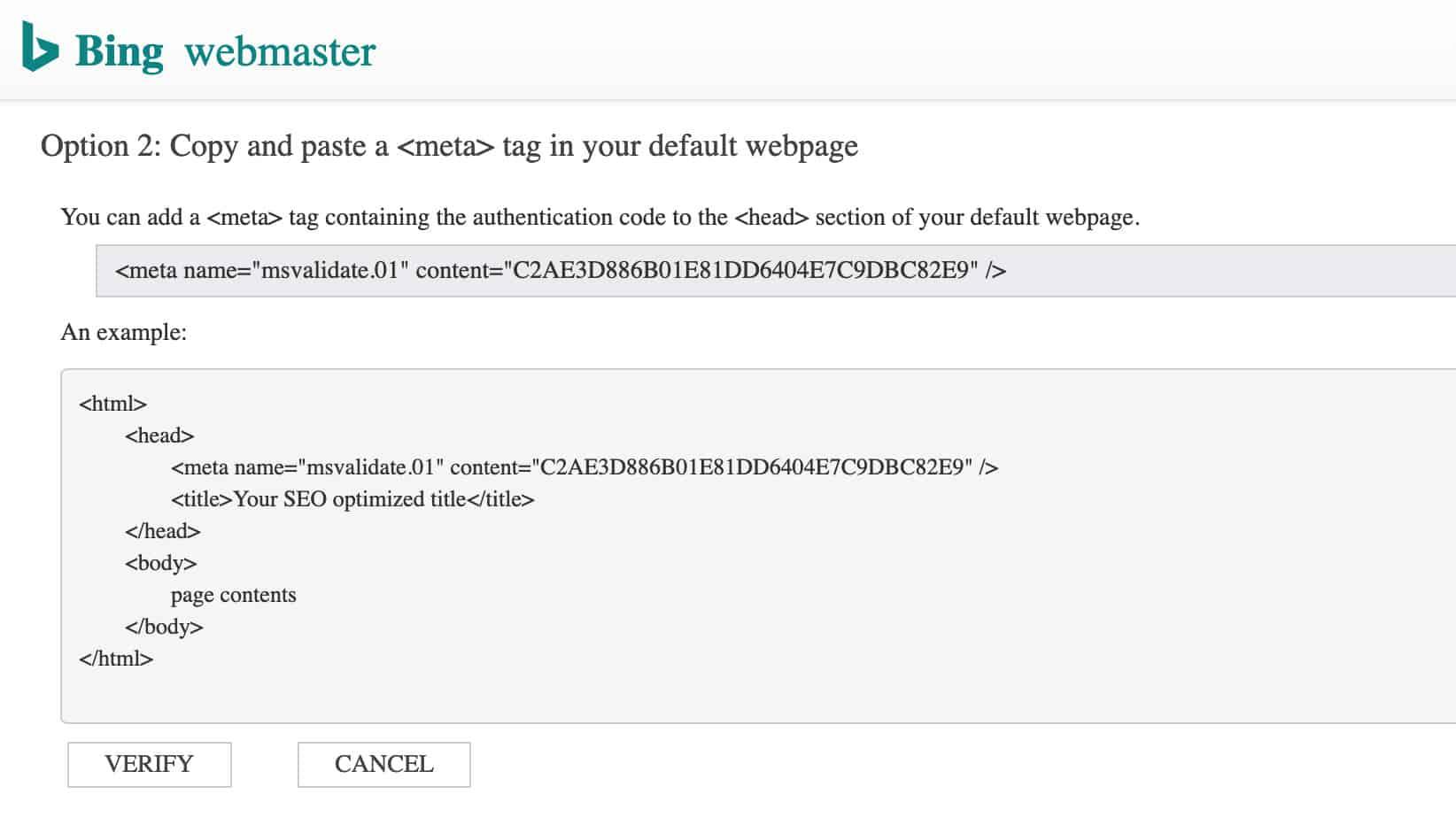 Processo di configurazione degli strumenti per webmaster di Bing