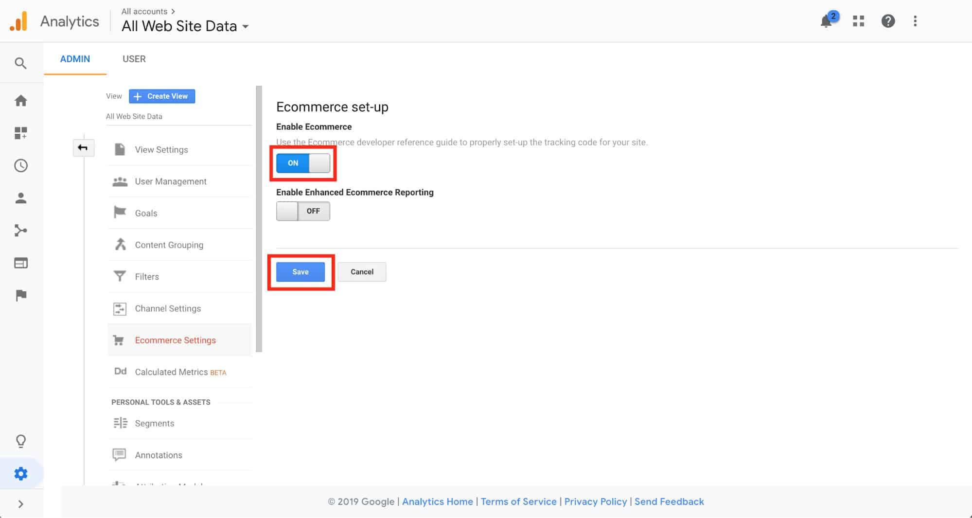 Configurazione delle impostazioni e-commerce di Google Analytics