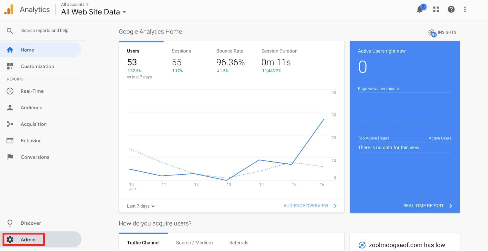 Google Analytics Site Admin Set Up