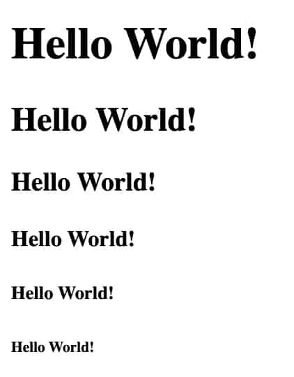 HTML Heading Examples
