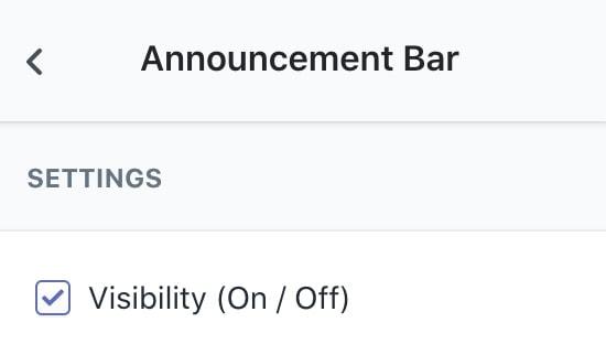 Announcement Bar Setting