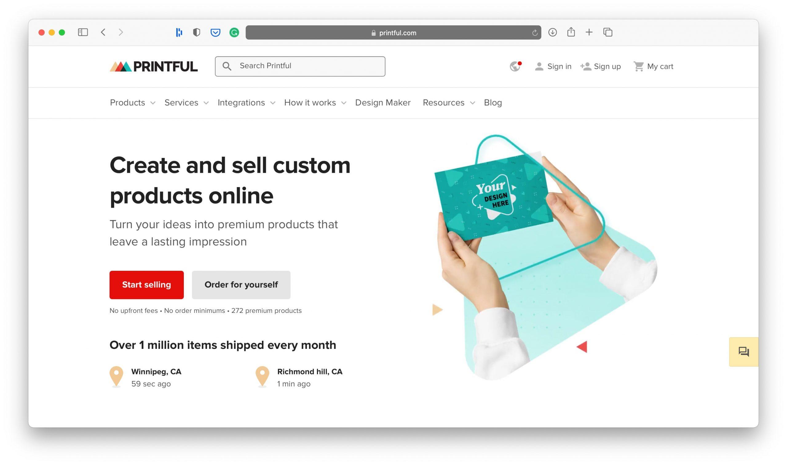Printful Homepage