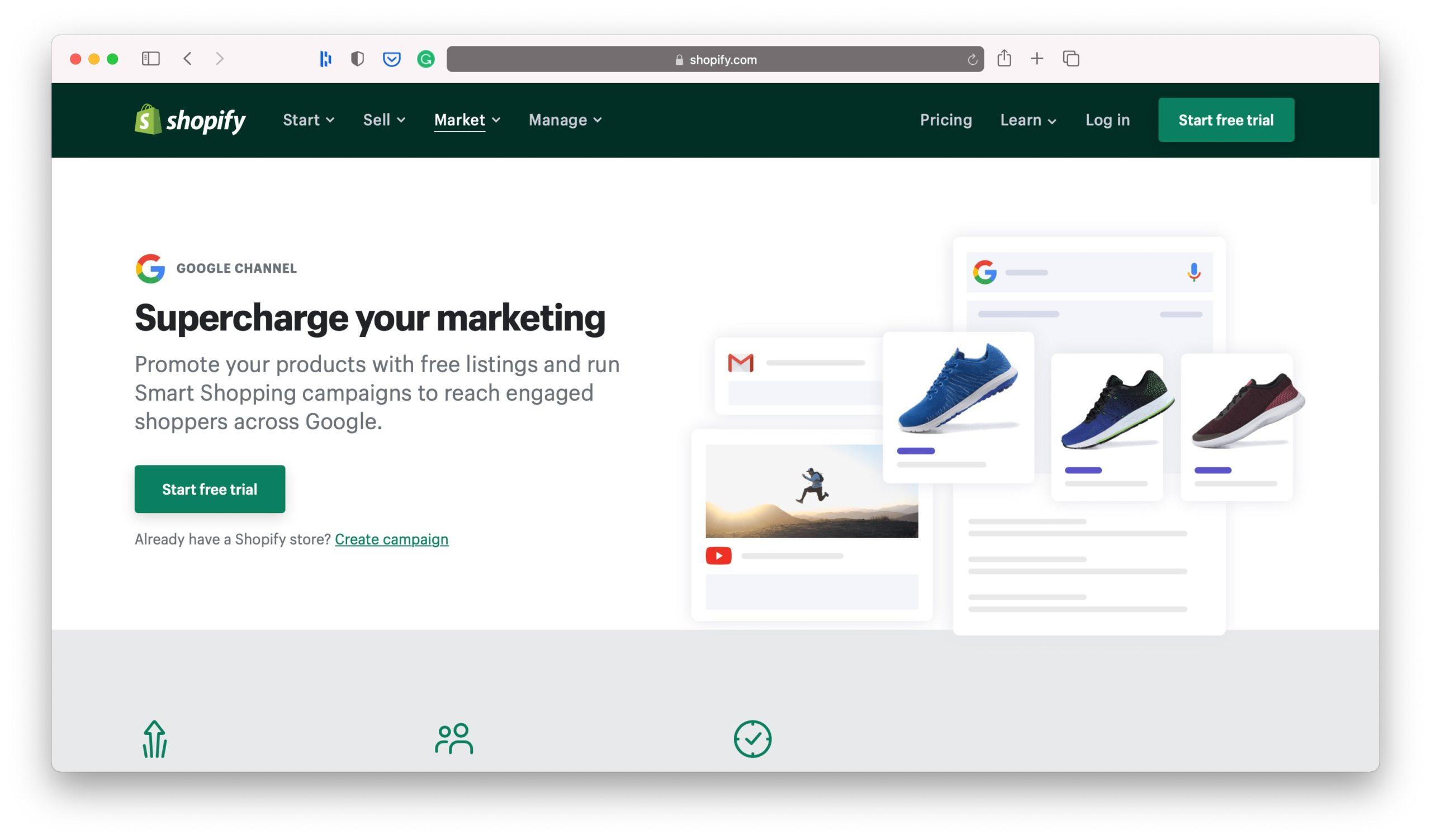 Google Shopify Marketing Channels