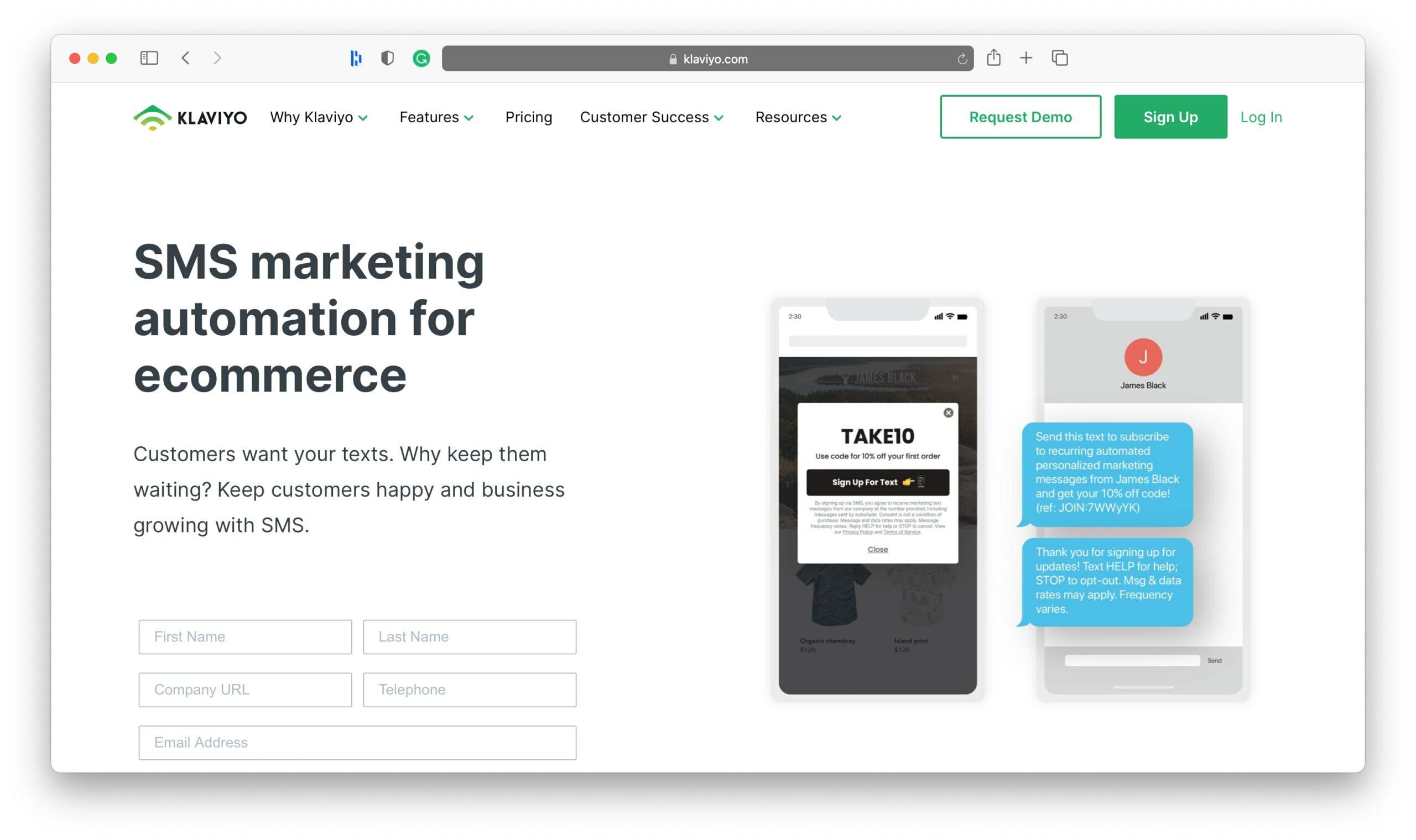 Klaviyo SMS Marketing Tools