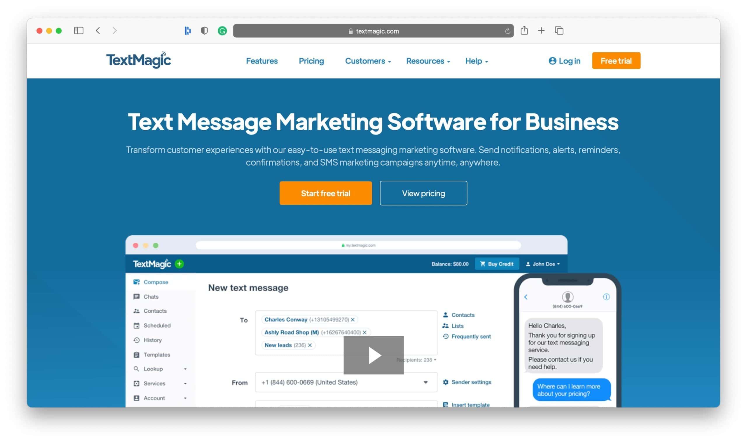 TextMagic SMS Marketing Tools